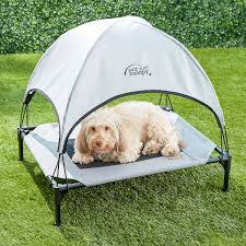 Dog Bed With Canopy K U0026h Pet Products Pet Cot Canopy Gray Medium Chewy Com