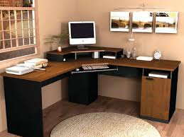 corner l shaped office desk with hutch black and cherry black open