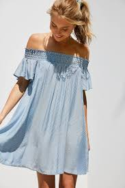 cooperative striped off the shoulder flutter sleeve dress