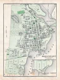 Suffolk County Map Print By Vintage Print Of A Map Of Greenport In Southold Suffolk County Of