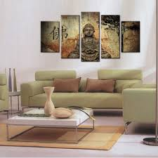 aliexpress com buy hd printed 5 piece canvas art buddha combine
