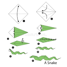 Origami Snake - step by step how to make origami snake stock vector