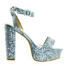 admire09 by bamboo glitter block heel platform open toe strappy