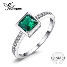 fine emerald rings images Square 0 5ct created green emerald solitaire ring 925 sterling silver jpg