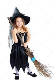 Girls Witch Halloween Costumes Witch Halloween Costume U2014 Stock Photo Lenanet
