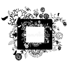 flower vector frame on free hand drawing sketch on white