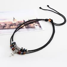 necklace leather cords images Cross double root beaded leather cord necklace pluto99 jpg