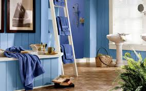 amazing blue bathroom painting ideas with white ladder as towel