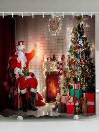 christmas fireplace tree santa claus waterproof shower curtain