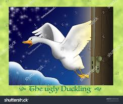 ugly duckling 19 escaping snowy winter stock illustration