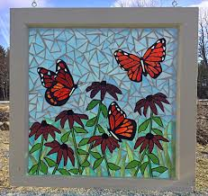 stained glass butterfly l monarch butterfly flower garden stained glass mosaic panel