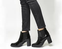 office laura mid heel chelsea boots black snake leather ankle boots