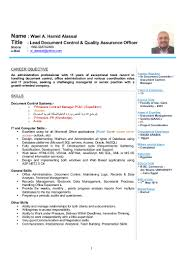 Sample Resume For Document Controller by Wael Cv Lead Document Control U0026 Quality Assurance Officer