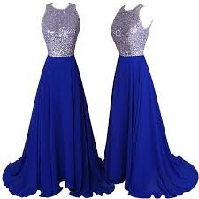 royal blue hot sell prom dress royal blue a line backless with sequins