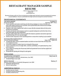 Restaurant Manager Resume 8 Restaurant Manager Resume Buisness Letter Forms