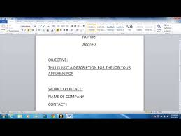 Resume Basics by How To Write A Basic Resume Youtube