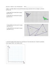 Geometry Dilations Worksheet Geometry U2013 Dilations Unit 3 Worksheet 3