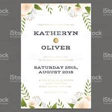 Invitation Cards For 25th Wedding Anniversary Wedding Invitation Card Template With Flower Floral Leaf
