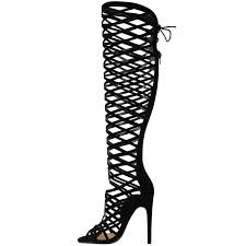 womens boots heels womens cut out lace knee high heel boots gladiator sandals