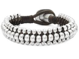 leather bracelet with silver beads images Rocking bracelet leather made with leathercords and beads for jpg