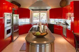 Red Lacquer Kitchen Cabinets by Architectural Steve Ruddy Photography