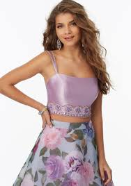 two piece prom dress with floral organza skirt style 99037 morilee