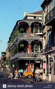 new orleans bourbon street balcony house people stock photo
