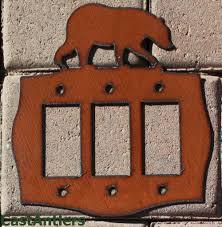 bear light switch covers 2 pack bear rocker triple light switch plate cover metal western