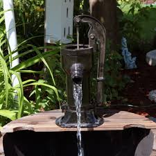 sunnydaze old fashioned wood bin outdoor fountain with water tap