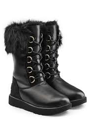 ugg womens julietta boots black lyst ugg aya waterproof leather boots with shearling insole in black