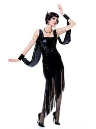 Halloween Flapper Costumes Flapper Costume Roaring 20s Costume Twenties Black Fringe Dress