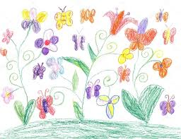 child drawing butterfly and flowers nature u2014 stock photo