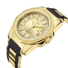 mens rubber bracelet watches images Jbw regal gold tone sunray crystal dial black rubber and gold tone jpg