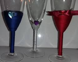 wedding decorations silk threaded wine glasses