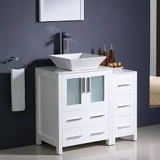 shop fresca bari white single vessel sink bathroom vanity with