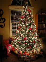 christmas tree with white lights and red bows tree red and white christmas pinterest decorating christmas