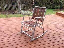 Aluminum Outdoor Patio Furniture by 1 Vtg Redwood Aluminum Outdoor Patio Porch Lawn Rocking Chairs