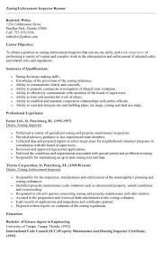 Public Health Resume Objective Sample Zoning Enforcement Inspector Resume Basic Zoning