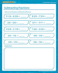 subtracting fractions printable math worksheets for grade 7