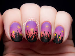 fireflies in the field at sunset chalkboard nails nail art blog