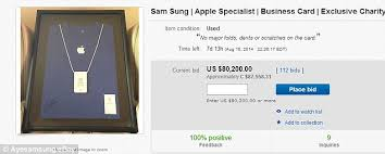 apple business card ex apple employee named sam sung auctions his business