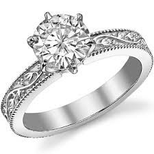 engraving on engagement ring moissanite engraved floral vine design solitaire ring