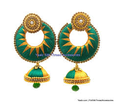 jhumka earrings yaalz zigzag chand bali jhumka earring in green and gold colors