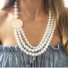 pearl monogram necklace monogram pearl necklace i jewelry