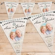 Bunting Flags Wedding Personalised Diamond 60th Wedding Anniversary Celebration Photo