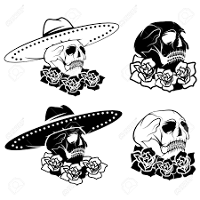 Day Of The Dead White Day Of The Dead Skull With Flowers And Sombrero Dia De Los