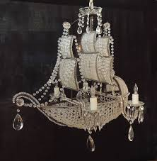 Chandelier And Pendant Lighting by Early 1900s Venetian Crystal Iron And Tole Ship Chandelier