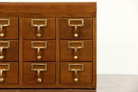 sold desktop card file cabinet 15 3x5 drawers 1950 vintage