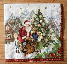 set of 4 traditional christmas scene paper lunch napkins decoupage