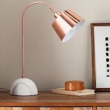 threshold copper task lamp with white marble base includes cfl